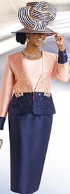 Donna Vinci 11543 Womens Skirt Suit With Embroidery & Rhinestones