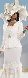 Donna Vinci 11546 Ladies Church Suit With Guipure Lace & Rhinestones