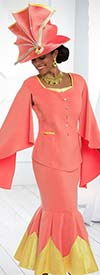 Donna Vinci 11565 Dual Color Flounce Hem Skirt Suit With Winged Sleeves