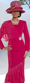 Donna Vinci 11628 Embellished Skirt Suit With Layered Ruffle Design
