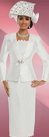 Donna Vinci 11630 Church Suit With Chevron Pattern & Zig Zag Trim