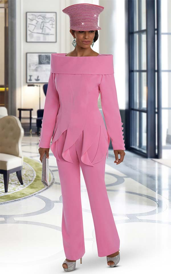 Donna Vinci 11637 Womens Pant Suit With Over The Shoulder Collar