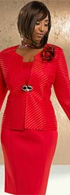 Donna Vinci 11641 Light Scuba Stretch Skirt Suit With Bell Cuffs & Detachable Brooch