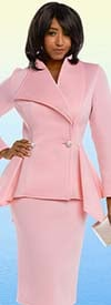 Donna Vinci 11644 Light Scuba Stretch Skirt Suit With Peplum Jacket