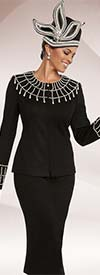 Donna Vinci 13200 Womens Knit Church Suit With Embellished Collar & Cuffs