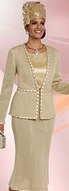 Donna Vinci 13217 Knit Church Suit With Flared Skirt & Trimmed Jacket