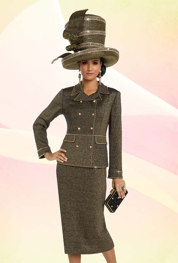 Donna Vinci 13220 Knit Skirt Suit With Double Breasted Jacket & Embellished Trims