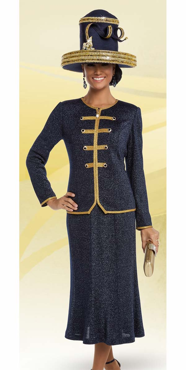 Donna Vinci 13222 Knit Church Suit With Flared Skirt & Trimmed Jacket