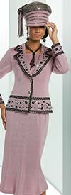 Donna Vinci 13223 Knit Skirt Suit With Notch Lapel & Rhinestone Embellishments
