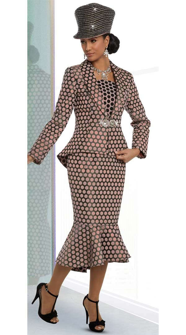Donna Vinci 5582 Polka Dot Pattern Skirt Suit With Flounce Hem & Peplum Jacket