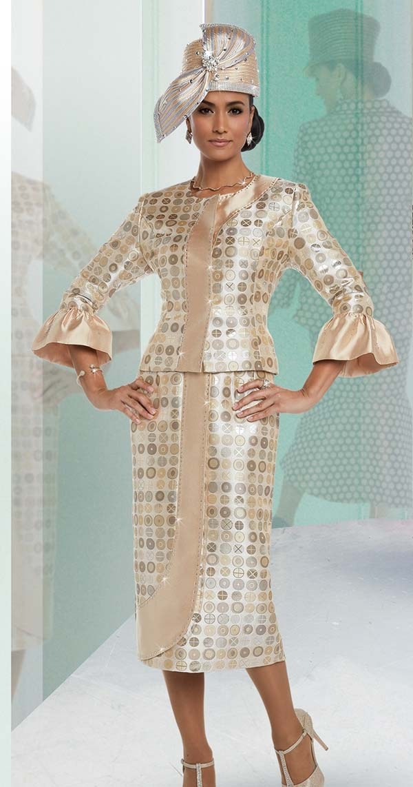 Donna Vinci 5587 Multi Circle Pattern Womens Church Suit With Bell Cuffs