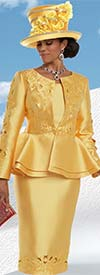 Donna Vinci 5590 Skirt Suit With Cut Out Design Accents & Peplum Style Jacket