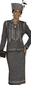 Clearance Elite Champagne 4869 Womens Metallic Knit Church Suit