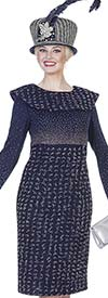 Elite Champagne 4964 Exclusive Knit Dress With Bertha Style Collar