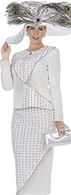 Elite Champagne 4967 Knit Skirt Suit With Asymmetric Pattern Design