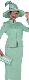 Elite Champagne 5054 Knit Skirt Suit With Nehru Collar Jacket