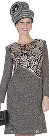 Elite Champagne 5055 Ladies Floral Pattern Knit Dress For Church