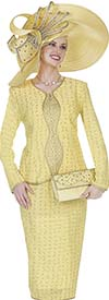 Elite Champagne 5058 Knit Jacket & Skirt Set With Textured Look