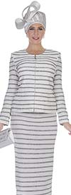 Elite Champagne 5059 Womens Striped Knit Skirt Suit With Jewel Collar