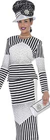 Elite Champagne 5061 Knit Middy Skirt Suit With Multi Stripe Design
