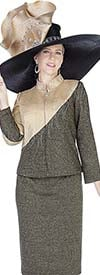Elite Champagne 5156 Knit Skirt Suit With Asymmetric Color Block & Nehru Collar