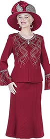 Elite Champagne 5162 Womens Knit Middy Skirt Suit With Bell Sleeves