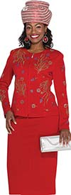 Elite Champagne 4951 Womens Knit Suit With Colorful Embellishments