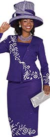 Elite Champagne 4952 Womens Knit Jacket / Skirt Suit With Ornamental Design
