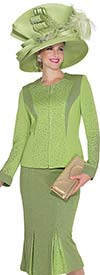 Elite Champagne 4953 Womens Knit Suit With Godet Skirt
