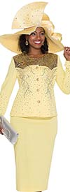 Elite Champagne 4954 Womens Knit Suit With Rhinestones & Brocade