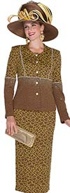 Elite Champagne 4960 Womens Knit Suit With Multi Pattern Design