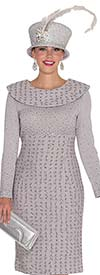 Clearance Elite Champagne 4964 Rhinestone Embellished Knit Dress With Bertha Collar