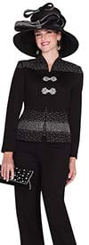 Elite Champagne 5052 Womens Knit Pant Suit With Rhinestones