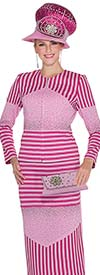 Elite Champagne 5061 Womens Knit Suit With Striped Design