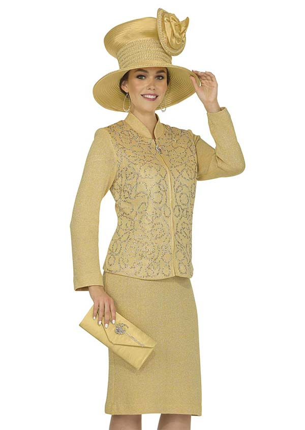 Elite Champagne 4866 Exclusive Knit Fabric Skirt Suit With Stand Up Collar Jacket