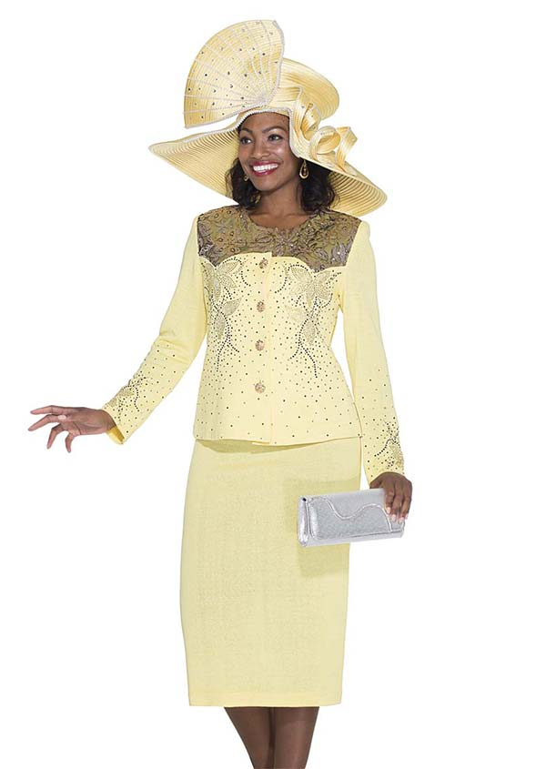 Elite Champagne 4954 Exclusive Knit Fabric Jacket & Skirt Suit With Embellished Design