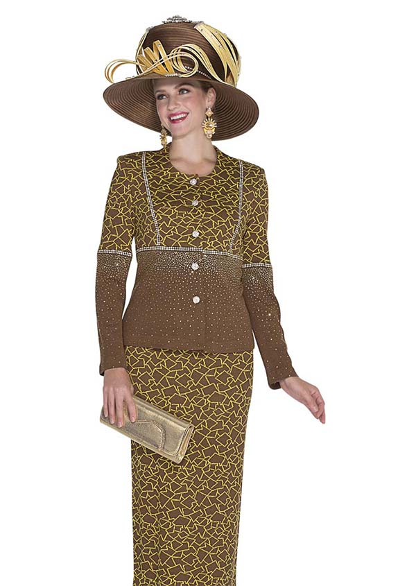 Elite Champagne 4960-Brown - Exclusive Knit Fabric Jacket & Skirt Suit With Mosaic Pattern Design