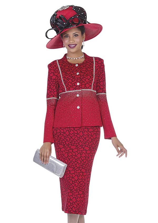 Elite Champagne 4960-Red - Exclusive Knit Fabric Jacket & Skirt Suit With Mosaic Pattern Design
