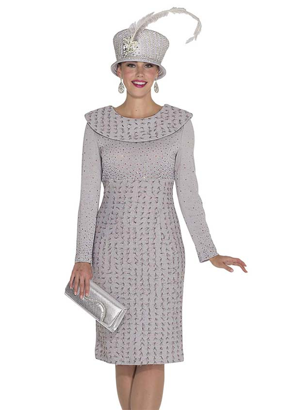 Elite Champagne 4964 Exclusive Knit Fabric Dress With Bertha Collar