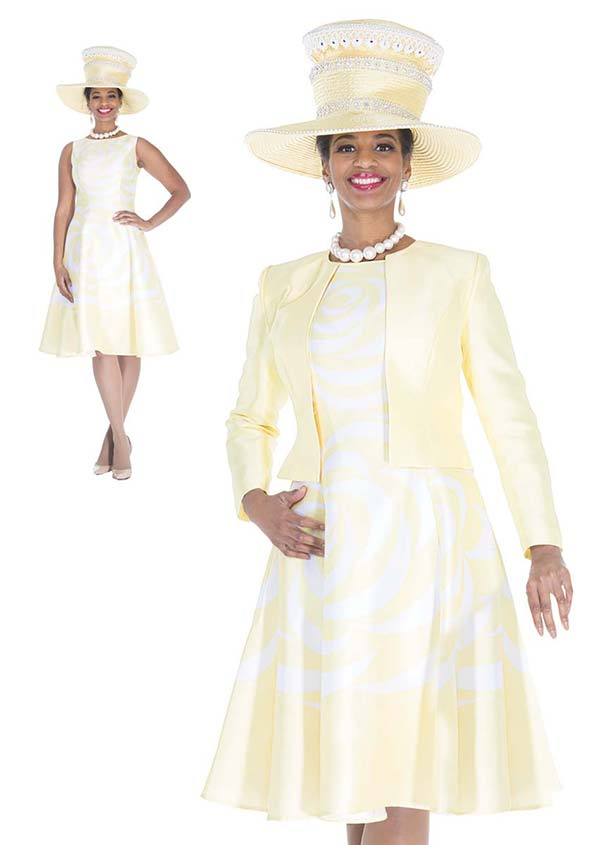 Elite Champagne 4978 Print Twill Satin Fabric Jacket & Pleated Bell Dress Suit