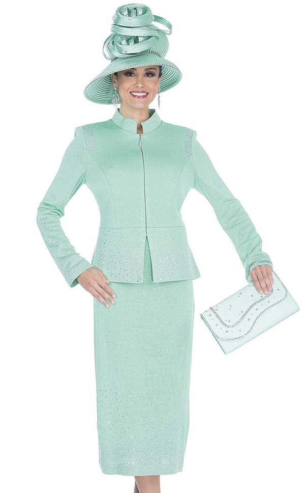 Elite Champagne 5054 Exclusive Knit Fabric Jacket & Skirt Suit With Stand Up Collar