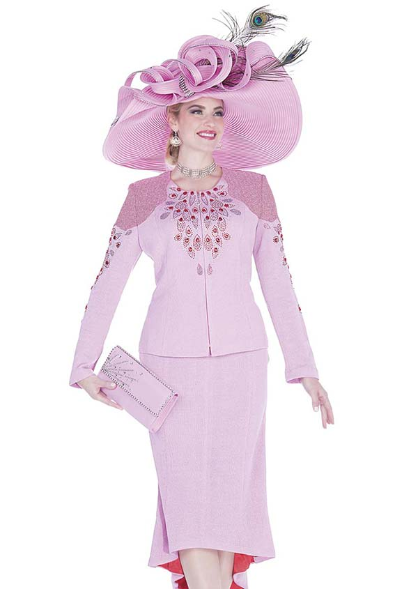 Elite Champagne 5057 Exclusive Knit Fabric Skirt Suit With Colored Embellishments
