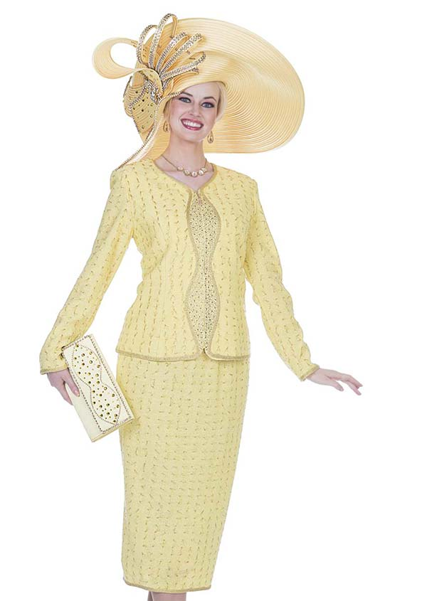 Elite Champagne 5058 Exclusive Knit Fabric Jacket & Skirt Suit With Textured Look