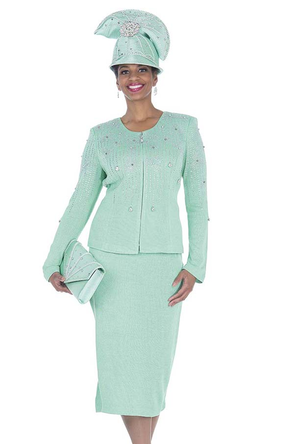 Elite Champagne 5060 Exclusive Knit Fabric Jacket & Skirt Suit With Embellished Design