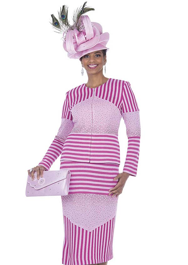Elite Champagne 5061 Exclusive Knit Fabric Skirt Suit With Multi Directional Stripe Design