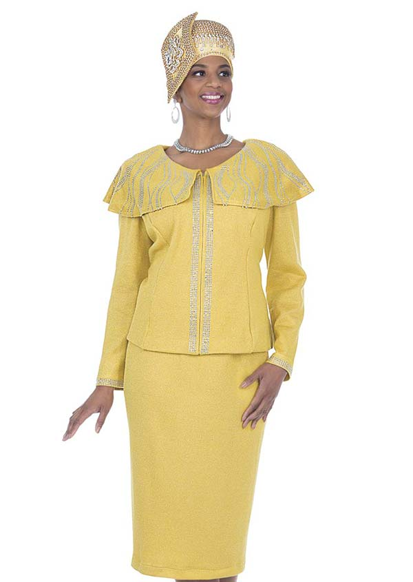 Elite Champagne 5152 Exclusive Knit Fabric Bertha Collar Jacket & Skirt Suit With Embellishments