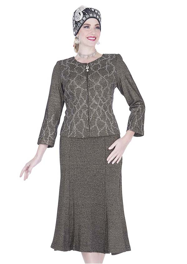 Elite Champagne 5153 Exclusive Knit Fabric Jacket & Flared Skirt Suit With Embellishments