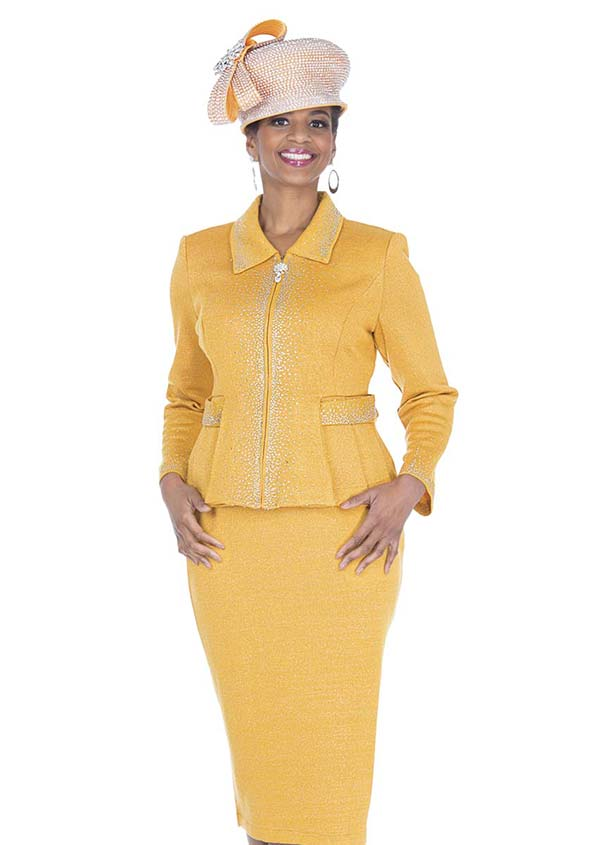 Elite Champagne 5154 Embellished Jacket & Skirt Suit In Exclusive Knit Fabric