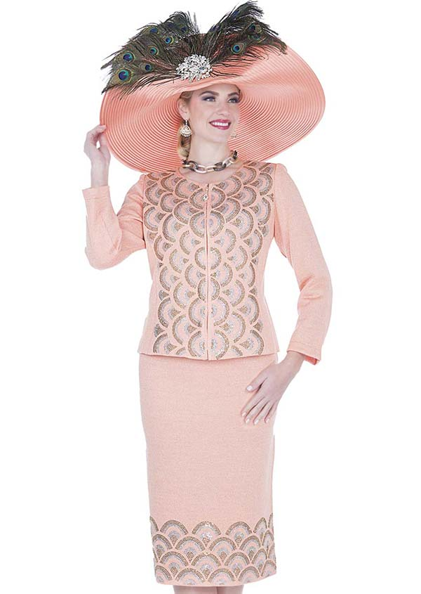 Elite Champagne 5155 Exclusive Knit Fabric Jacket & Skirt Suit With Scallop Pattern Design