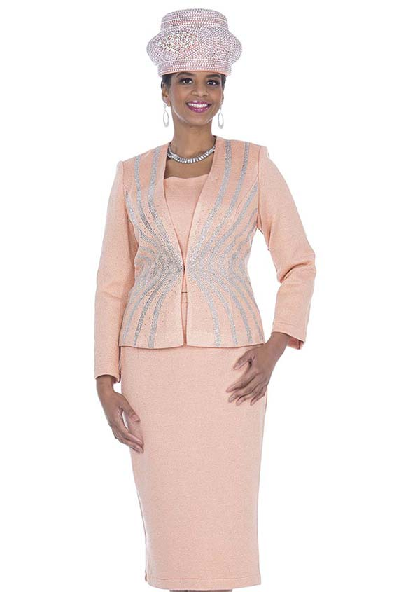 Elite Champagne 5157 Exclusive Knit Fabric Embellished Jacket & Skirt Suit